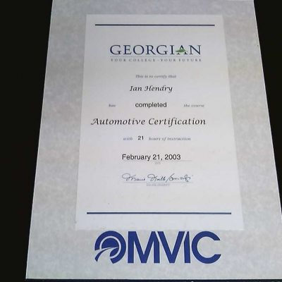 omvic certificate plaque